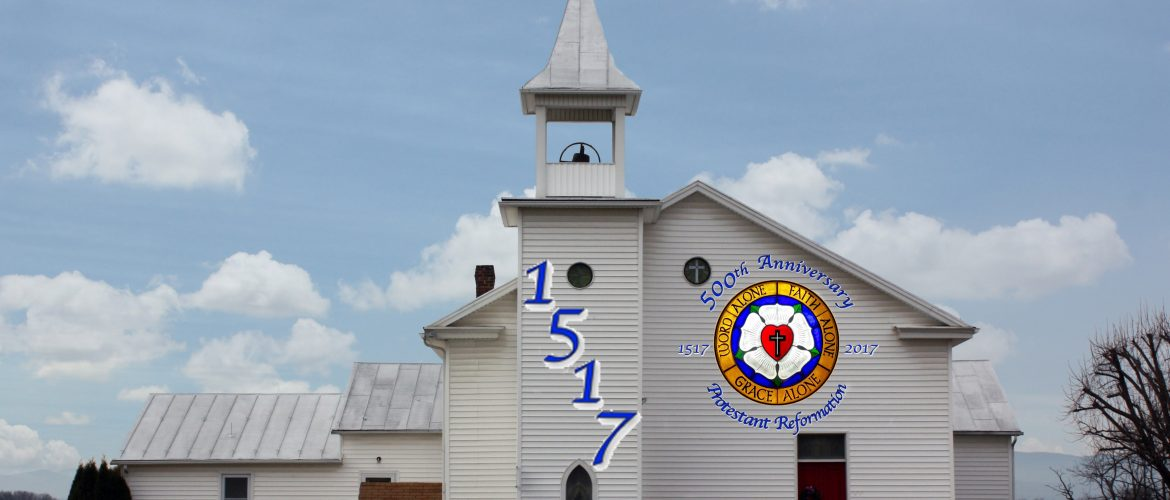 Computer simulation of St. Jacob's Church with the 500th Anniversary of the Protestant Reformation logo.